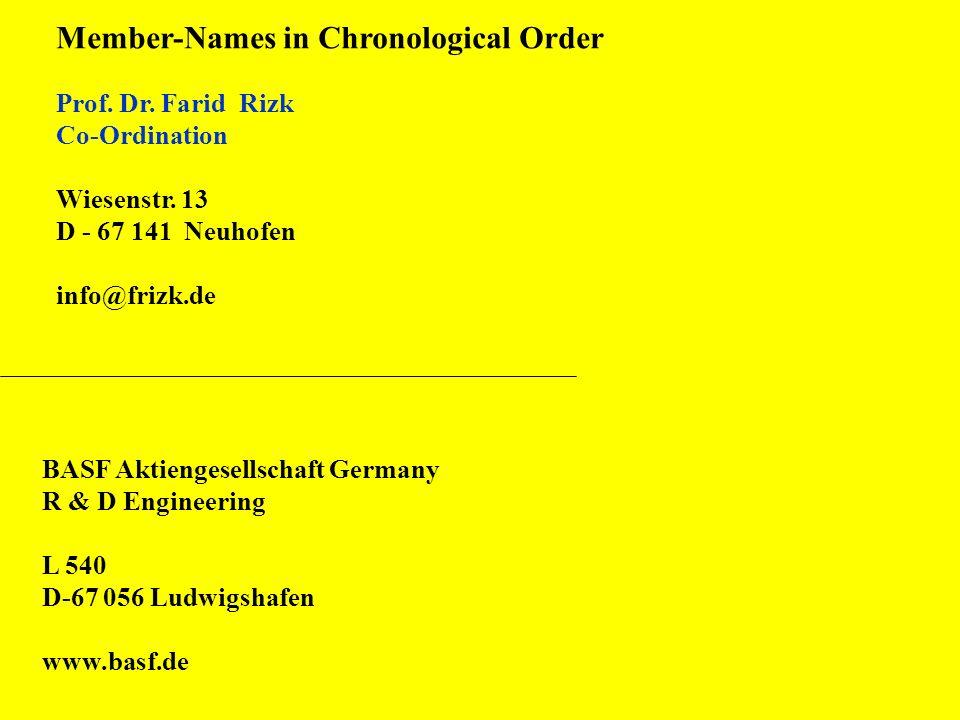 Member-Names in Chronological Order Prof. Dr. Farid Rizk Co-Ordination Wiesenstr. 13 D - 67 141 Neuhofen info@frizk.de BASF Aktiengesellschaft Germany