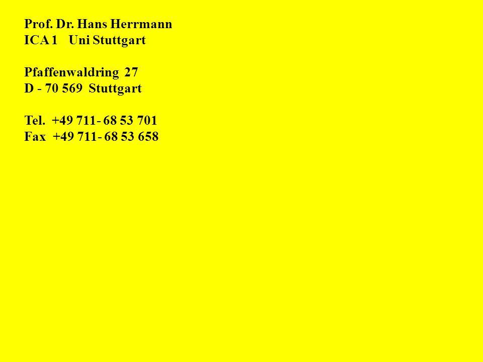 Prof. Dr. Hans Herrmann ICA 1 Uni Stuttgart Pfaffenwaldring 27 D - 70 569 Stuttgart Tel. +49 711- 68 53 701 Fax +49 711- 68 53 658