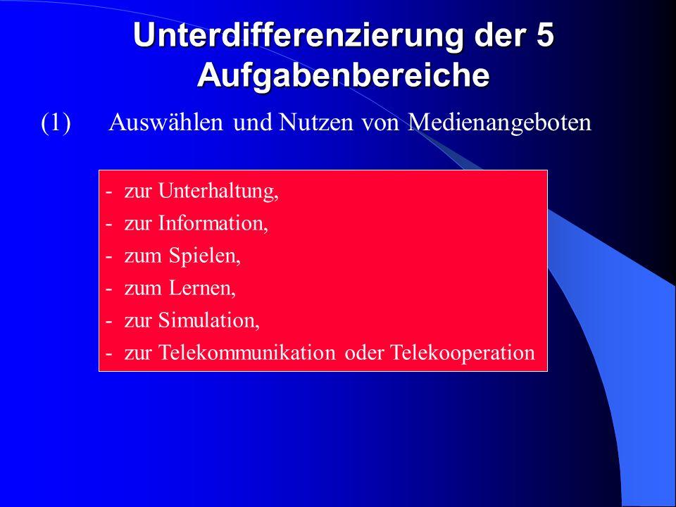 Unterdifferenzierung der 5 Aufgabenbereiche (1) Auswählen und Nutzen von Medienangeboten - zur Unterhaltung, - zur Information, - zum Spielen, - zum Lernen, - zur Simulation, - zur Telekommunikation oder Telekooperation