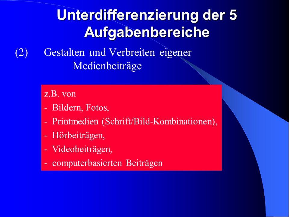 Unterdifferenzierung der 5 Aufgabenbereiche (2)Gestalten und Verbreiten eigener Medienbeiträge z.B.