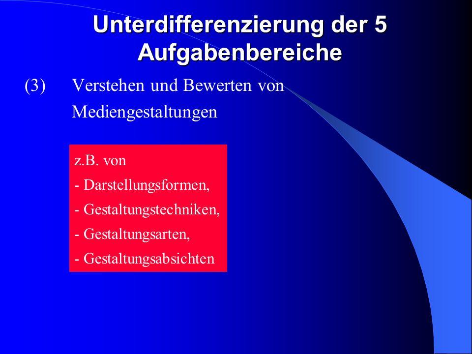 Unterdifferenzierung der 5 Aufgabenbereiche (3)Verstehen und Bewerten von Mediengestaltungen z.B.