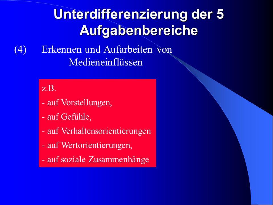 Unterdifferenzierung der 5 Aufgabenbereiche (4)Erkennen und Aufarbeiten von Medieneinflüssen z.B.