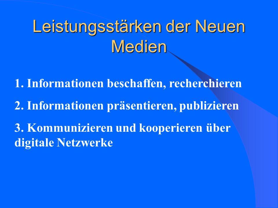 Leistungsstärken der Neuen Medien 1.Informationen beschaffen, recherchieren 2.