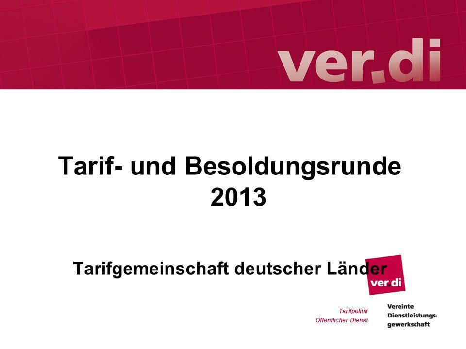 Tarif- und Besoldungsrunde 2013 Tarifgemeinschaft deutscher Länder Tarifpolitik Öffentlicher Dienst