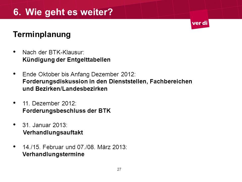 Terminplanung Nach der BTK-Klausur: Kündigung der Entgelttabellen Ende Oktober bis Anfang Dezember 2012: Forderungsdiskussion in den Dienststellen, Fa