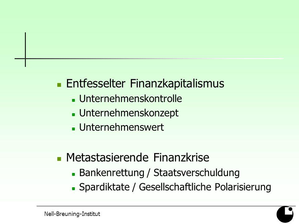 Entfesselter Finanzkapitalismus Unternehmenskontrolle Unternehmenskonzept Unternehmenswert Metastasierende Finanzkrise Bankenrettung / Staatsverschuldung Spardiktate / Gesellschaftliche Polarisierung Nell-Breuning-Institut