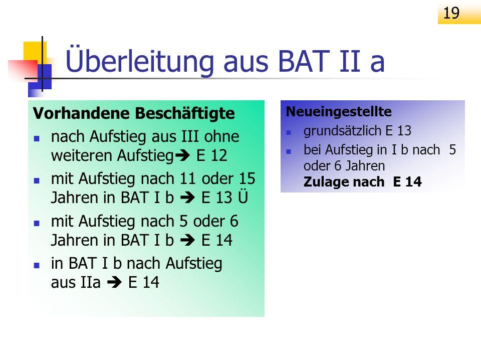 19 Vorhandene Beschäftigte nach Aufstieg aus III ohne weiteren Aufstieg E 12 mit Aufstieg nach 11 oder 15 Jahren in BAT I b E 13 Ü mit Aufstieg nach 5
