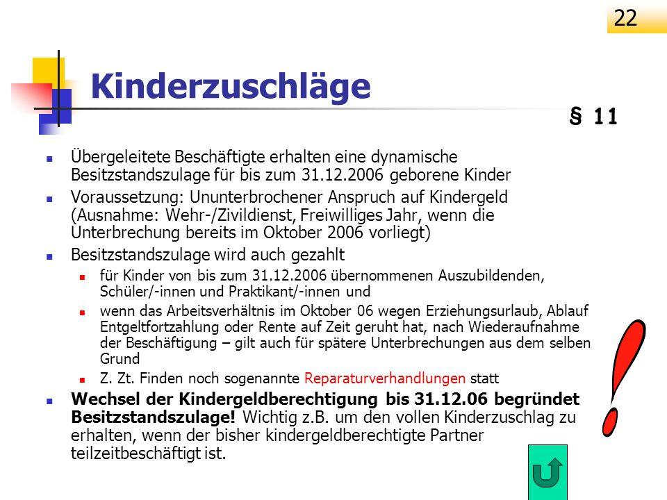 22 Kinderzuschläge Übergeleitete Beschäftigte erhalten eine dynamische Besitzstandszulage für bis zum 31.12.2006 geborene Kinder Voraussetzung: Ununte