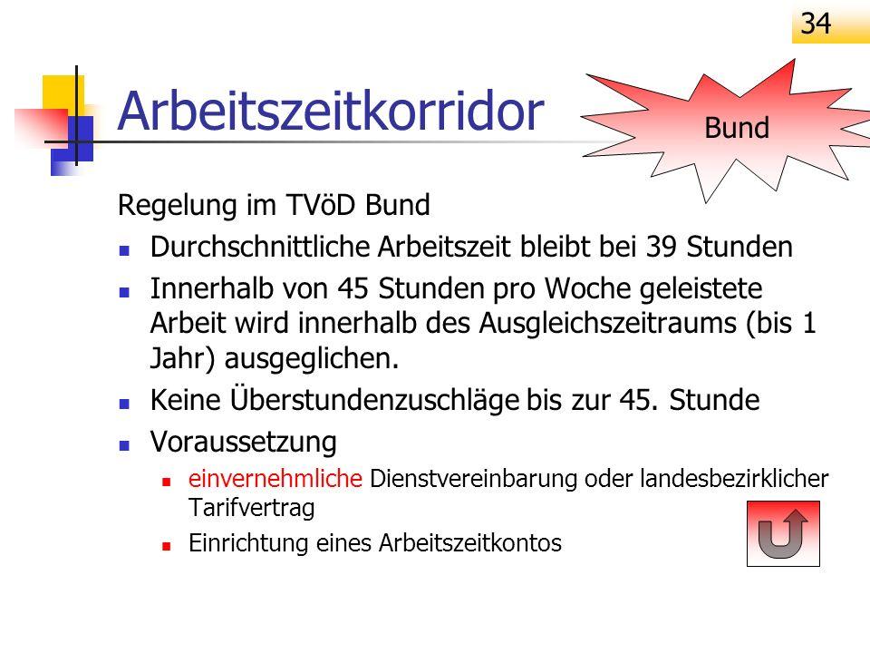 34 Arbeitszeitkorridor Regelung im TVöD Bund Durchschnittliche Arbeitszeit bleibt bei 39 Stunden Innerhalb von 45 Stunden pro Woche geleistete Arbeit