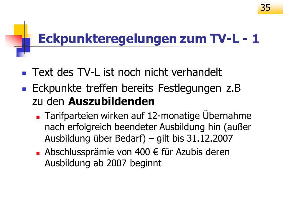 35 Eckpunkteregelungen zum TV-L - 1 Text des TV-L ist noch nicht verhandelt Eckpunkte treffen bereits Festlegungen z.B zu den Auszubildenden Tarifpart
