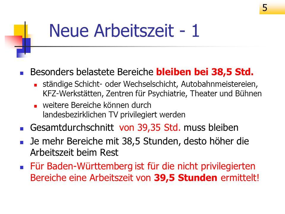 6 39,35 durchschnittliche AZ in BaWü ab 1.11.06 Neue Arbeitszeit -2 38,5 Zentren f.
