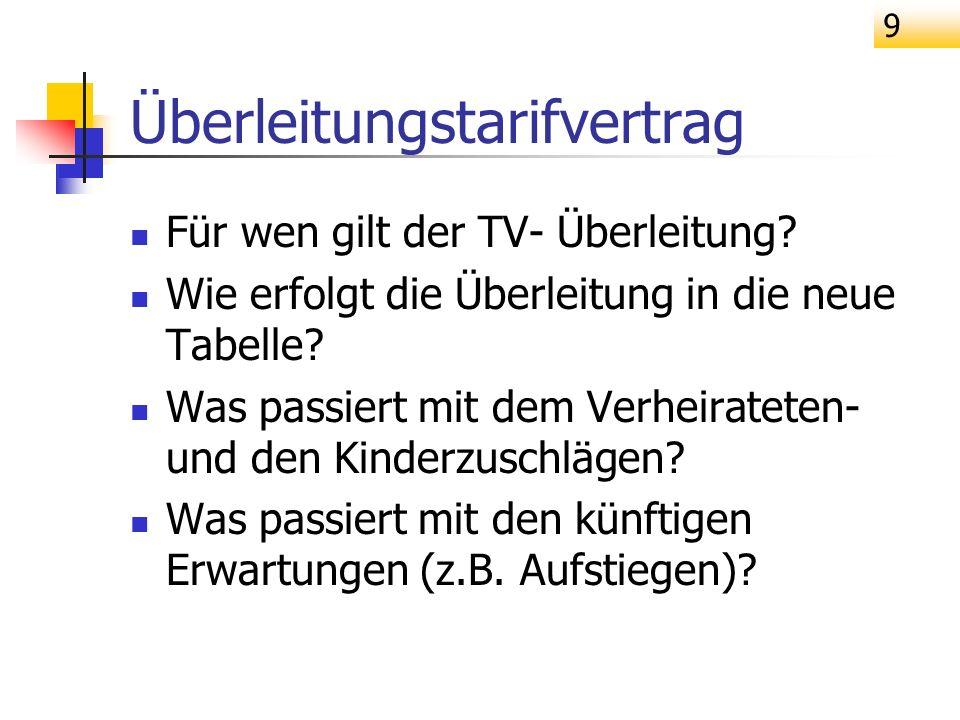 9 Überleitungstarifvertrag Für wen gilt der TV- Überleitung? Wie erfolgt die Überleitung in die neue Tabelle? Was passiert mit dem Verheirateten- und