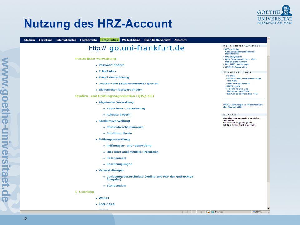 12 Nutzung des HRZ-Account