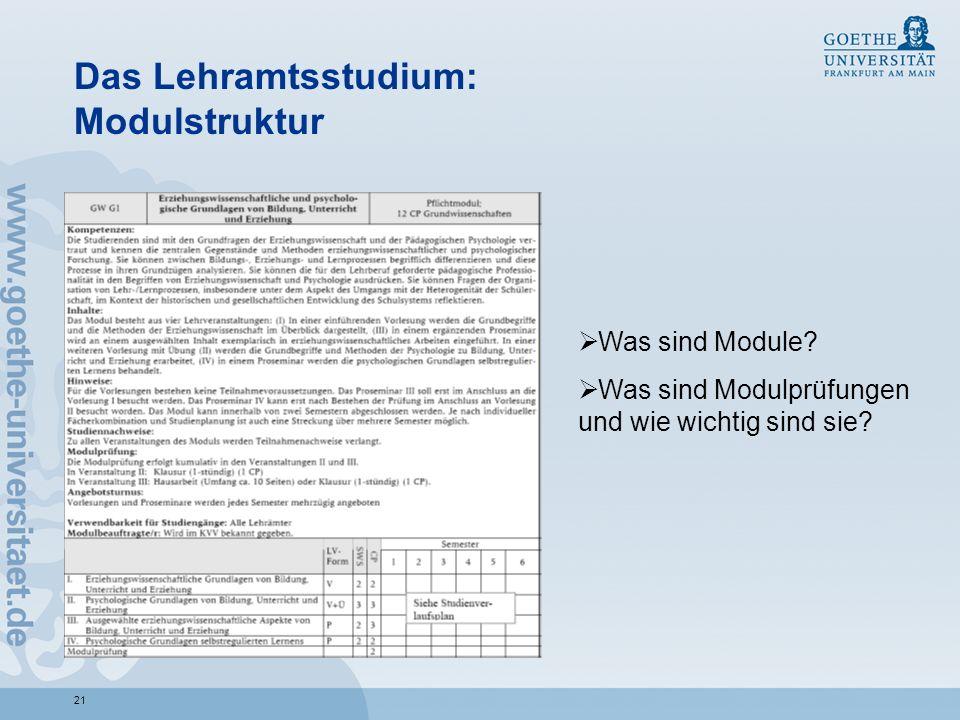 21 Das Lehramtsstudium: Modulstruktur Was sind Module? Was sind Modulprüfungen und wie wichtig sind sie?