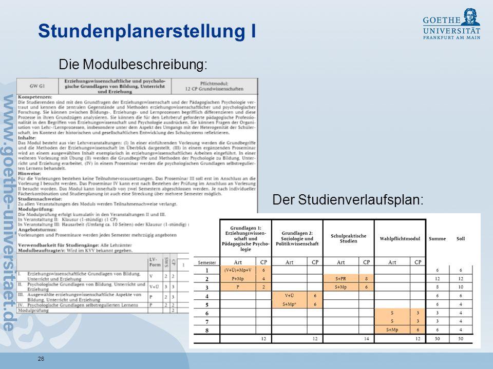 26 Stundenplanerstellung I Der Studienverlaufsplan: Die Modulbeschreibung:
