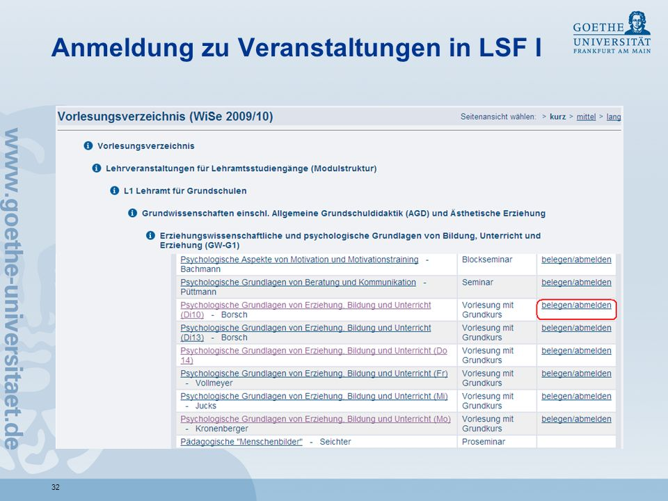 32 Anmeldung zu Veranstaltungen in LSF I