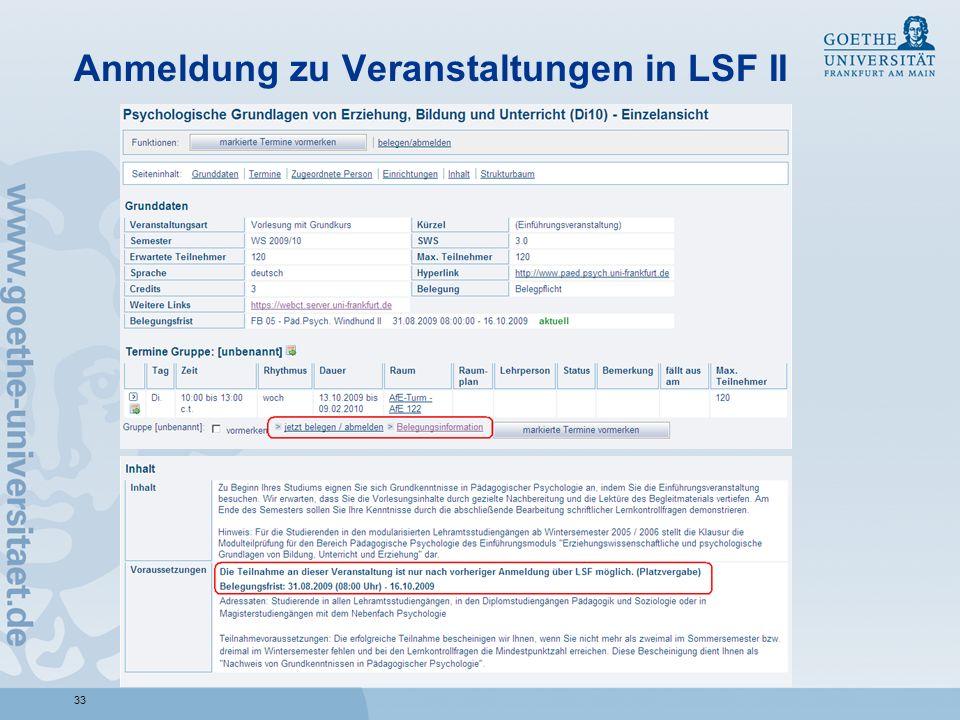 33 Anmeldung zu Veranstaltungen in LSF II