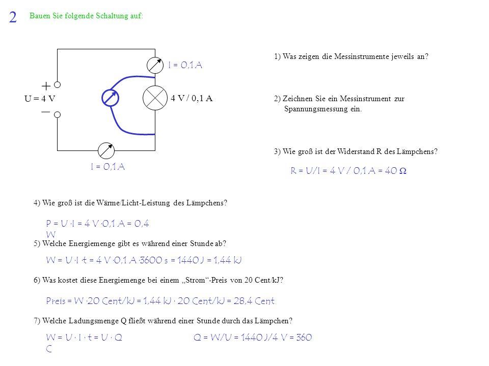2 Bauen Sie folgende Schaltung auf: + – U = 4 V 4 V / 0,1 A 1) Was zeigen die Messinstrumente jeweils an? 2) Zeichnen Sie ein Messinstrument zur Spann