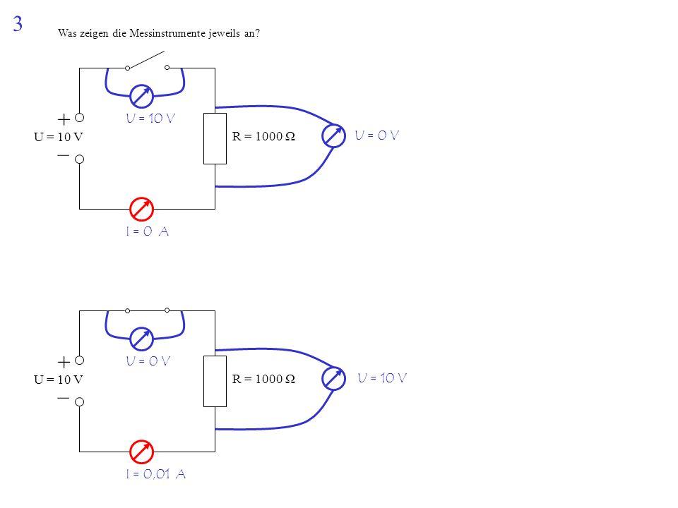 3 Was zeigen die Messinstrumente jeweils an? + – U = 10 V R = 1000 Ω + – U = 10 V R = 1000 Ω U = 10 V U = 0 V I = 0 A U = 0 V U = 10 V I = 0,01 A