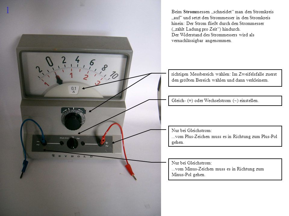Beim Strommessen schneidet man den Stromkreis auf und setzt den Strommesser in den Stromkreis hinein: Der Strom fließt durch den Strommesser (zählt La