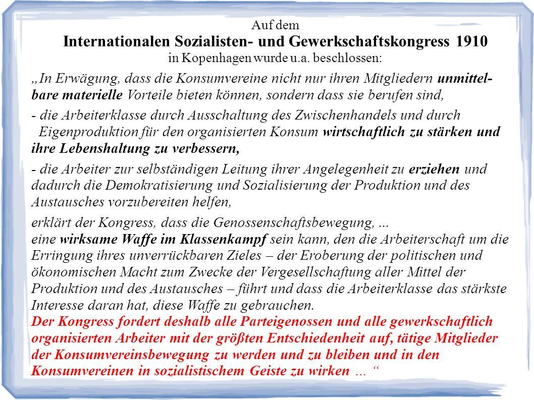 Auf dem Internationalen Sozialisten- und Gewerkschaftskongress 1910 in Kopenhagen wurde u.a.