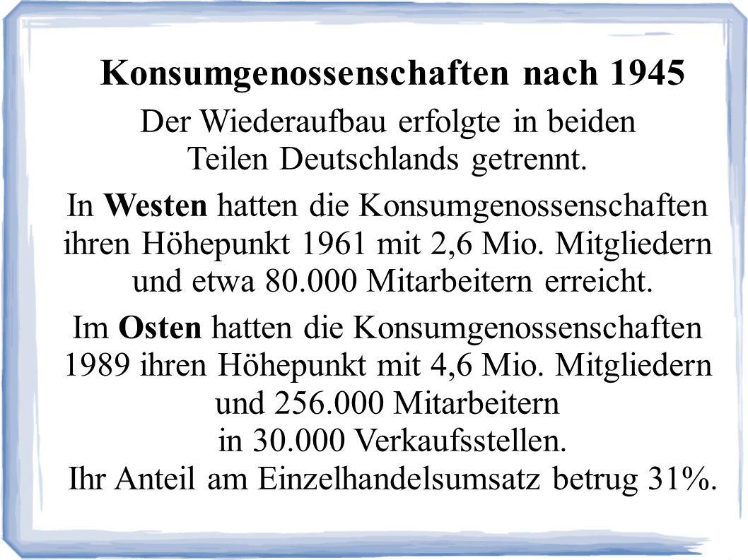 Konsumgenossenschaften nach 1945 Der Wiederaufbau erfolgte in beiden Teilen Deutschlands getrennt.