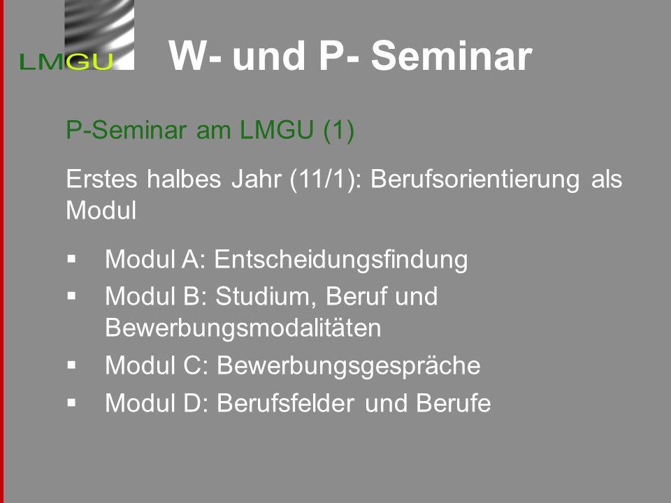W- und P- Seminar P-Seminar am LMGU (1) Erstes halbes Jahr (11/1): Berufsorientierung als Modul Modul A: Entscheidungsfindung Modul B: Studium, Beruf