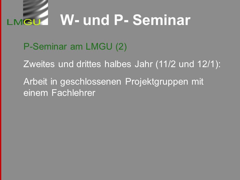 W- und P- Seminar P-Seminar am LMGU (2) Zweites und drittes halbes Jahr (11/2 und 12/1): Arbeit in geschlossenen Projektgruppen mit einem Fachlehrer