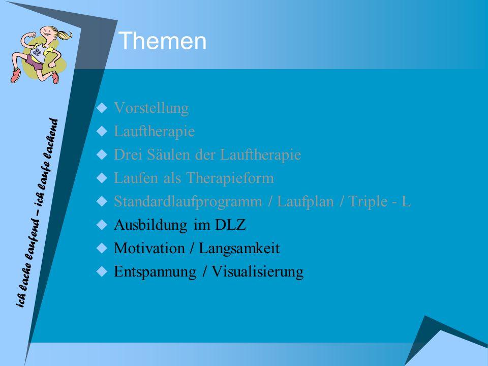 Themen Vorstellung Lauftherapie Drei Säulen der Lauftherapie Laufen als Therapieform Standardlaufprogramm / Laufplan / Triple - L Ausbildung im DLZ Mo