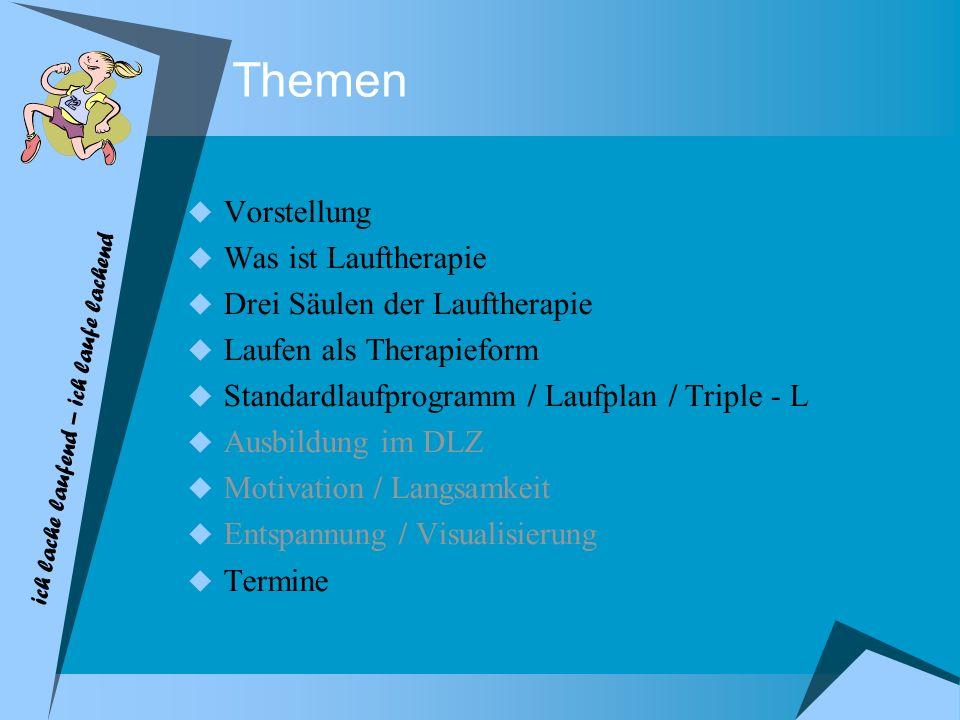 Themen Vorstellung Was ist Lauftherapie Drei Säulen der Lauftherapie Laufen als Therapieform Standardlaufprogramm / Laufplan / Triple - L Ausbildung i
