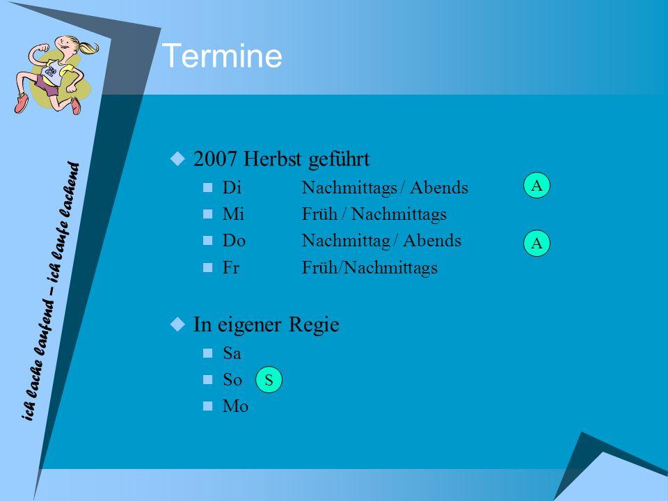 Termine 2007 Herbst geführt DiNachmittags / Abends MiFrüh / Nachmittags DoNachmittag / Abends Fr Früh/Nachmittags In eigener Regie Sa So Mo A A S ich