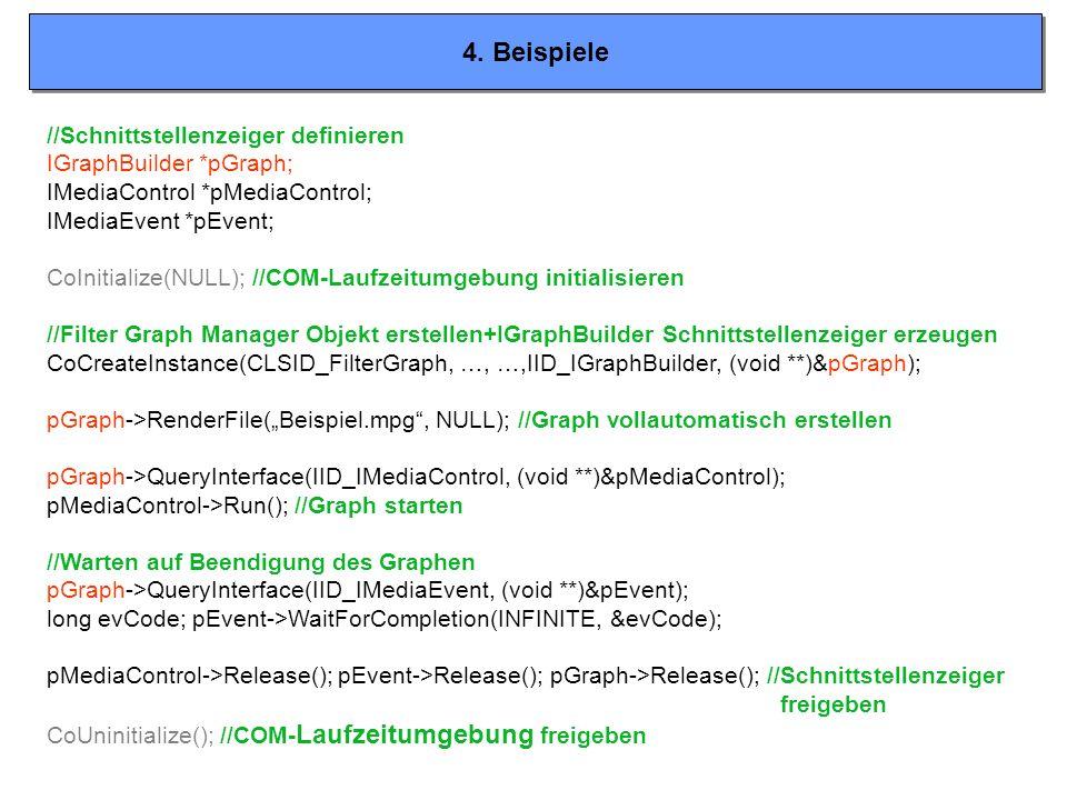 4. Beispiele //Schnittstellenzeiger definieren IGraphBuilder *pGraph; IMediaControl *pMediaControl; IMediaEvent *pEvent; CoInitialize(NULL); //COM-Lau