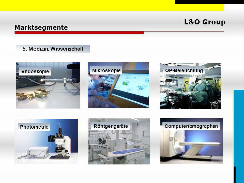 L&O Group Marktsegmente 5. Medizin, Wissenschaft Endoskopie MikroskopieOP-Beleuchtung Photometrie RöntgengeräteComputertomographen