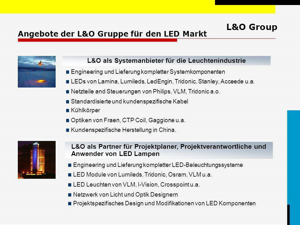 L&O Group Angebote der L&O Gruppe für den LED Markt L&O als Systemanbieter für die Leuchtenindustrie Engineering und Lieferung kompletter Systemkompon