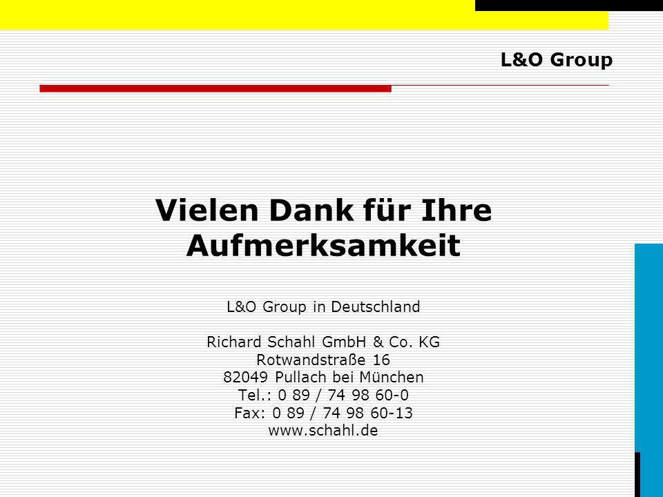 L&O Group Vielen Dank für Ihre Aufmerksamkeit L&O Group in Deutschland Richard Schahl GmbH & Co. KG Rotwandstraße 16 82049 Pullach bei München Tel.: 0