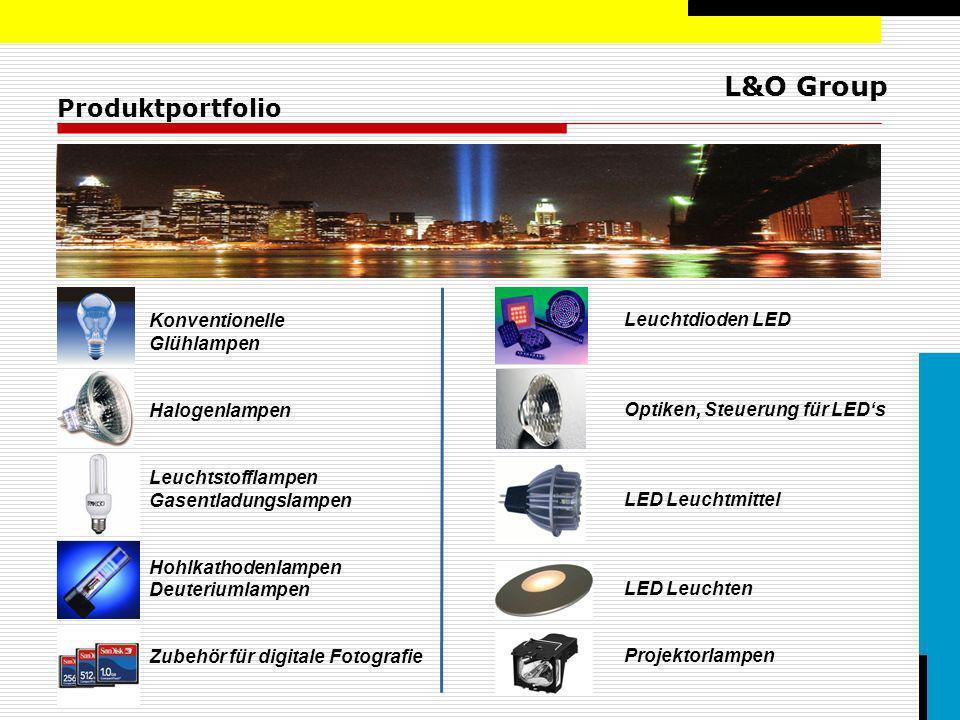 L&O Group Leistungsspektrum Weltweites Sourcing Brain-Center für Lampen, LEDs und deren Anwendungen Speziallampenwissen in fast allen Anwendungs- gebieten wie: Photo/TV/Film/Bühne/Medizin/Industrie Komplettes Sortiment an LEDs und Zubehör (Netzteile, Optiken, Kühlkörper, Kabel…) Distribution, Lagerhaltung & Handling der Produkte verschiedenster Hersteller ständig 8.000 verschiedene Artikel auf Lager Speziallampen von über 50 Herstellern, 24h Belieferung Value Added Assembling u.a.