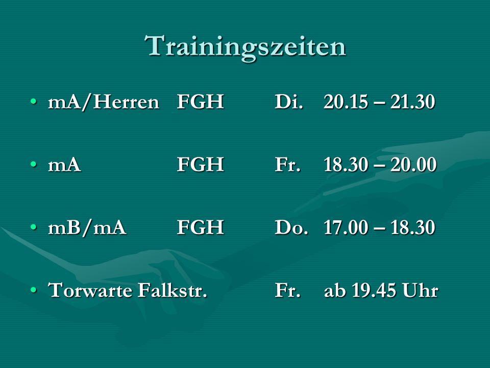 Trainingszeiten mA/HerrenFGH Di.20.15 – 21.30mA/HerrenFGH Di.20.15 – 21.30 mAFGHFr.18.30 – 20.00mAFGHFr.18.30 – 20.00 mB/mAFGHDo.17.00 – 18.30mB/mAFGH
