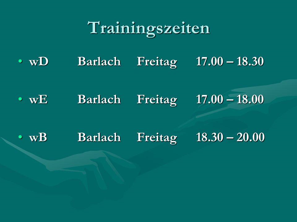 Trainingszeiten wDBarlachFreitag17.00 – 18.30wDBarlachFreitag17.00 – 18.30 wEBarlachFreitag17.00 – 18.00wEBarlachFreitag17.00 – 18.00 wBBarlachFreitag 18.30 – 20.00wBBarlachFreitag 18.30 – 20.00