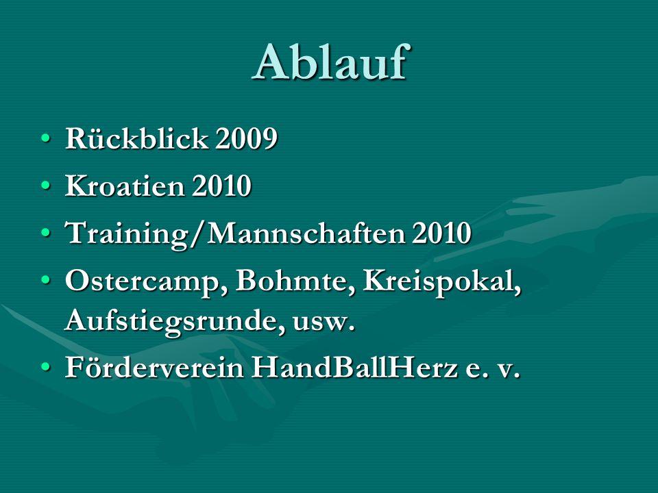 Ablauf Rückblick 2009Rückblick 2009 Kroatien 2010Kroatien 2010 Training/Mannschaften 2010Training/Mannschaften 2010 Ostercamp, Bohmte, Kreispokal, Auf