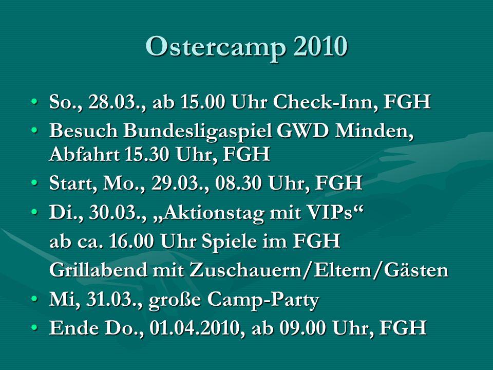Ostercamp 2010 So., 28.03., ab 15.00 Uhr Check-Inn, FGHSo., 28.03., ab 15.00 Uhr Check-Inn, FGH Besuch Bundesligaspiel GWD Minden, Abfahrt 15.30 Uhr,