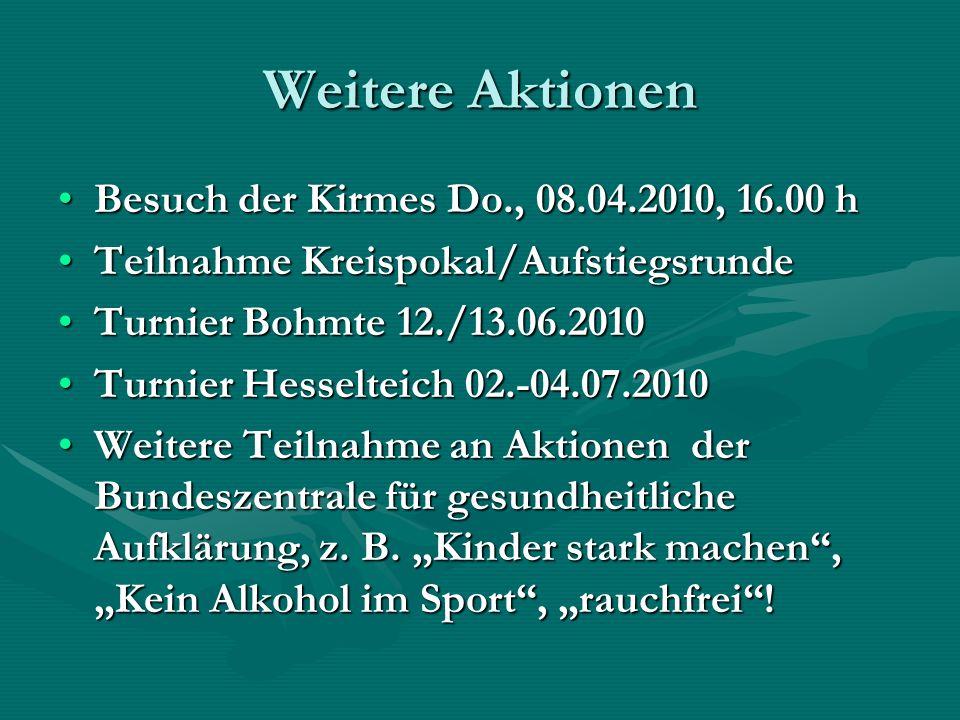 Weitere Aktionen Besuch der Kirmes Do., 08.04.2010, 16.00 hBesuch der Kirmes Do., 08.04.2010, 16.00 h Teilnahme Kreispokal/AufstiegsrundeTeilnahme Kre