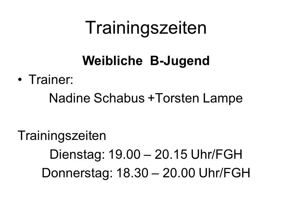 Trainingszeiten Weibliche B-Jugend Trainer: Nadine Schabus +Torsten Lampe Trainingszeiten Dienstag: 19.00 – 20.15 Uhr/FGH Donnerstag: 18.30 – 20.00 Uh