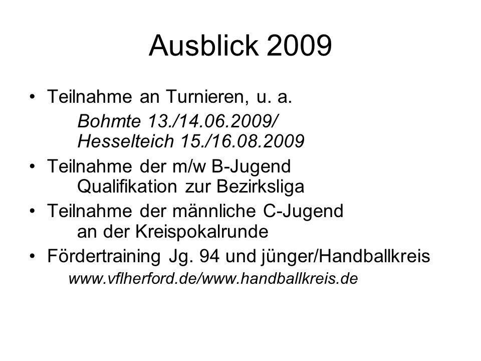 Ausblick 2009 Teilnahme an Turnieren, u. a. Bohmte 13./14.06.2009/ Hesselteich 15./16.08.2009 Teilnahme der m/w B-Jugend Qualifikation zur Bezirksliga