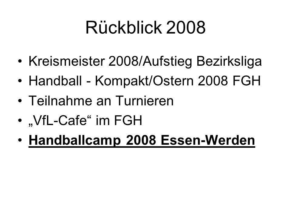 Rückblick 2008 Kreismeister 2008/Aufstieg Bezirksliga Handball - Kompakt/Ostern 2008 FGH Teilnahme an Turnieren VfL-Cafe im FGH Handballcamp 2008 Esse