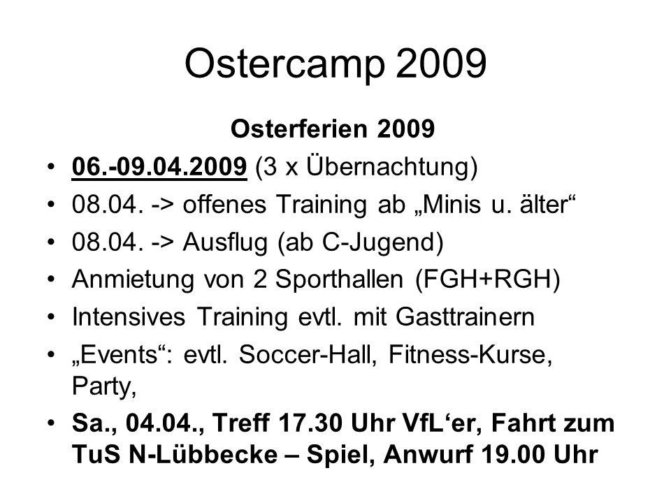 Ostercamp 2009 Osterferien 2009 06.-09.04.2009 (3 x Übernachtung) 08.04. -> offenes Training ab Minis u. älter 08.04. -> Ausflug (ab C-Jugend) Anmietu