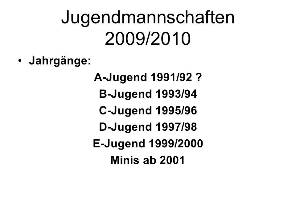 Jugendmannschaften 2009/2010 Jahrgänge: A-Jugend 1991/92 ? B-Jugend 1993/94 C-Jugend 1995/96 D-Jugend 1997/98 E-Jugend 1999/2000 Minis ab 2001
