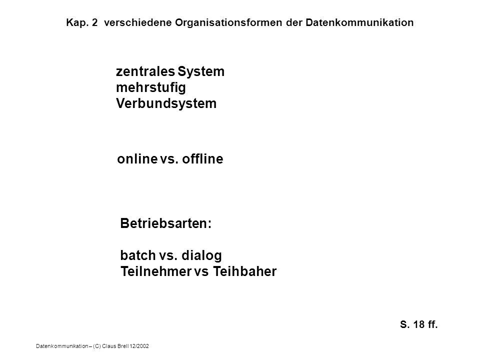 Datenkommunikation – (C) Claus Brell 12/2002 Kap. 2 verschiedene Organisationsformen der Datenkommunikation zentrales System mehrstufig Verbundsystem