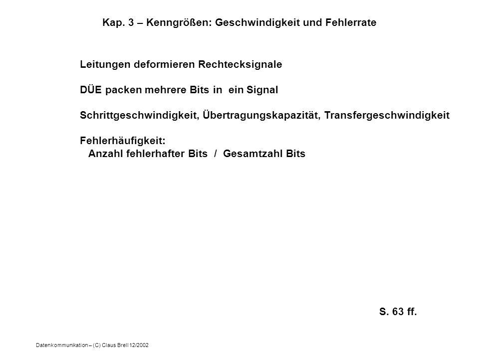 Datenkommunikation – (C) Claus Brell 12/2002 Kap. 3 – Kenngrößen: Geschwindigkeit und Fehlerrate Leitungen deformieren Rechtecksignale DÜE packen mehr