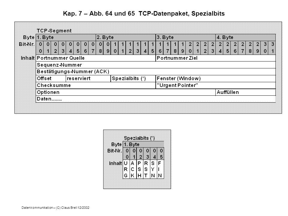 Datenkommunikation – (C) Claus Brell 12/2002 Kap. 7 – Abb. 64 und 65 TCP-Datenpaket, Spezialbits