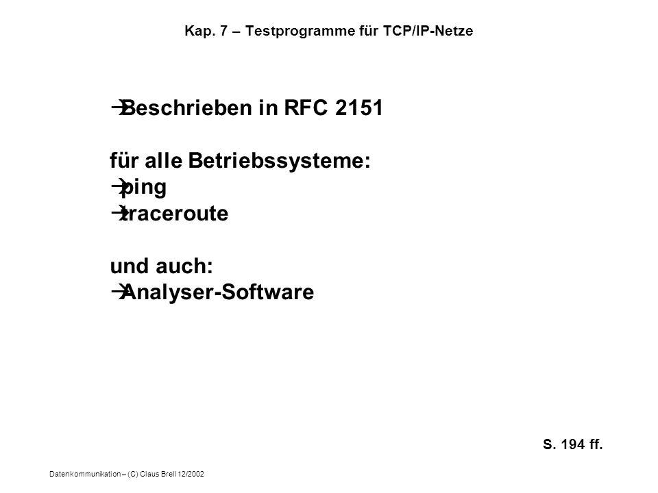 Datenkommunikation – (C) Claus Brell 12/2002 Kap. 7 – Testprogramme für TCP/IP-Netze Beschrieben in RFC 2151 für alle Betriebssysteme: ping traceroute